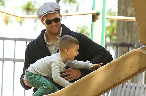 Tom Brady and Benjamin at playground